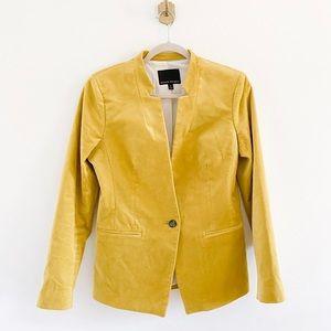 Banana Republic Yellow Velvet One Button Blazer